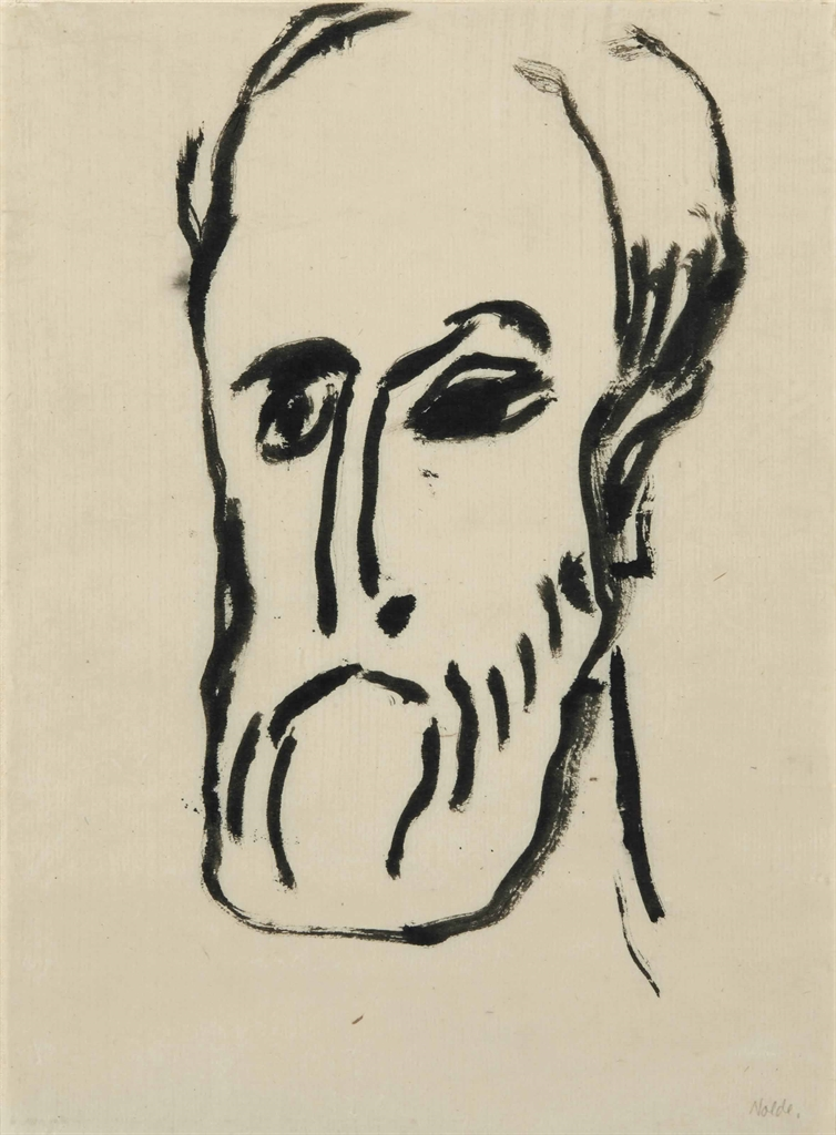 Emil Nolde-Mannerkopf (Tete d'homme)-1912