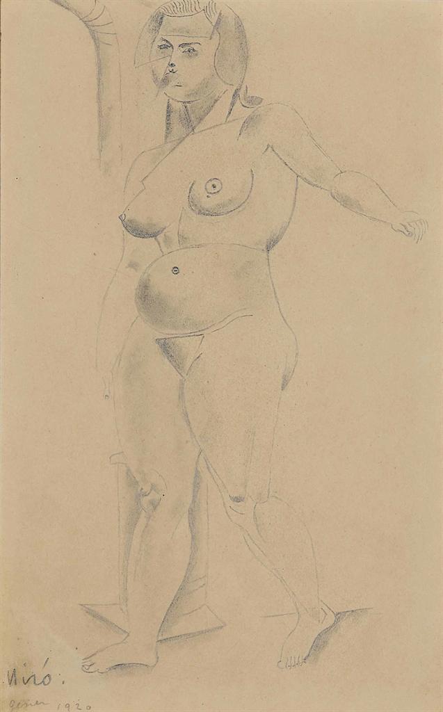 Joan Miro-Sans titre (Nu cubiste)-1920