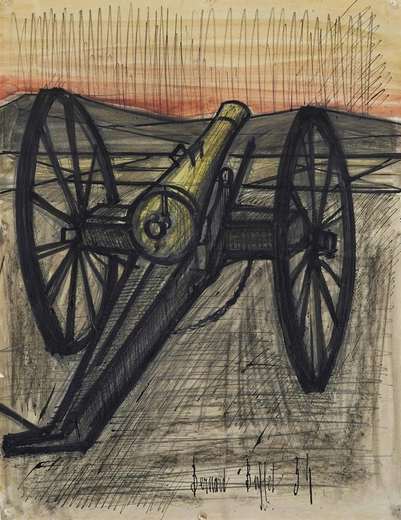 Bernard Buffet-Horreur de la guerre, le canon de 75-1954