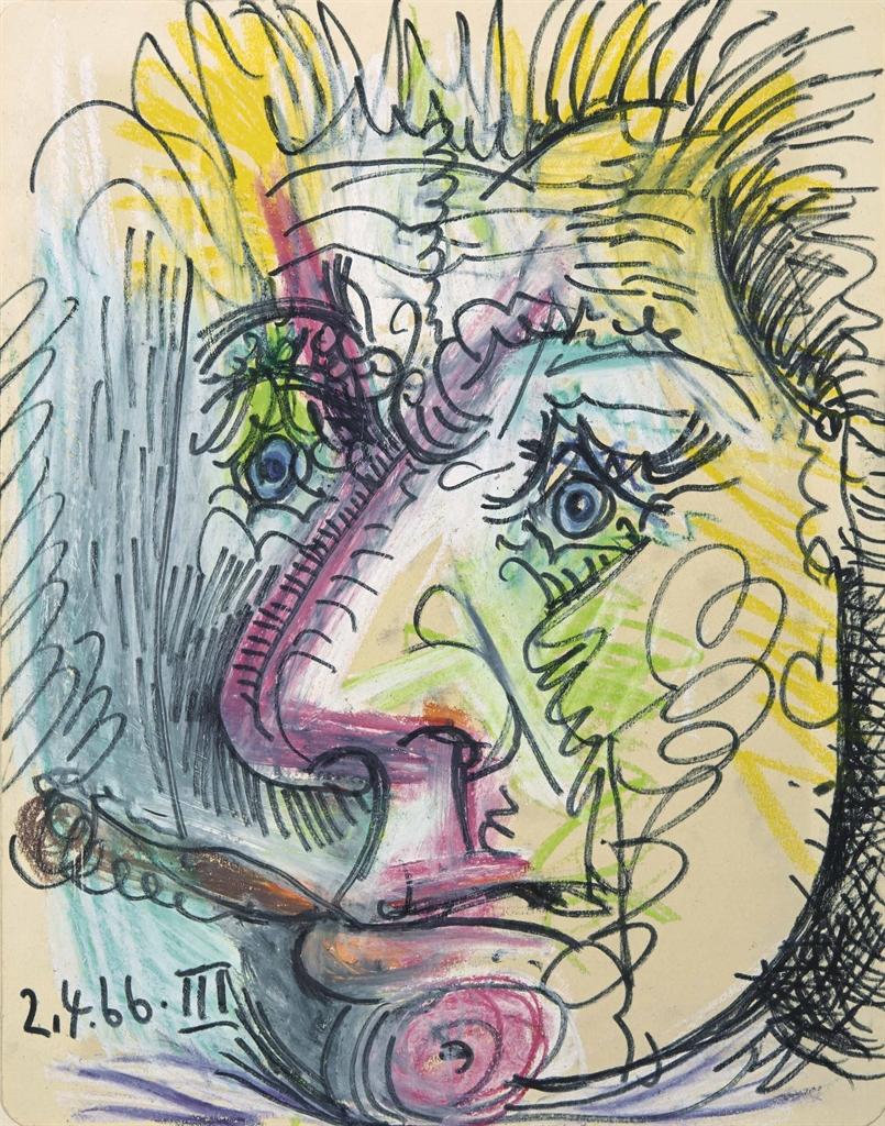 Pablo Picasso-Portrait d'Edouard Pignon au cigare-1966