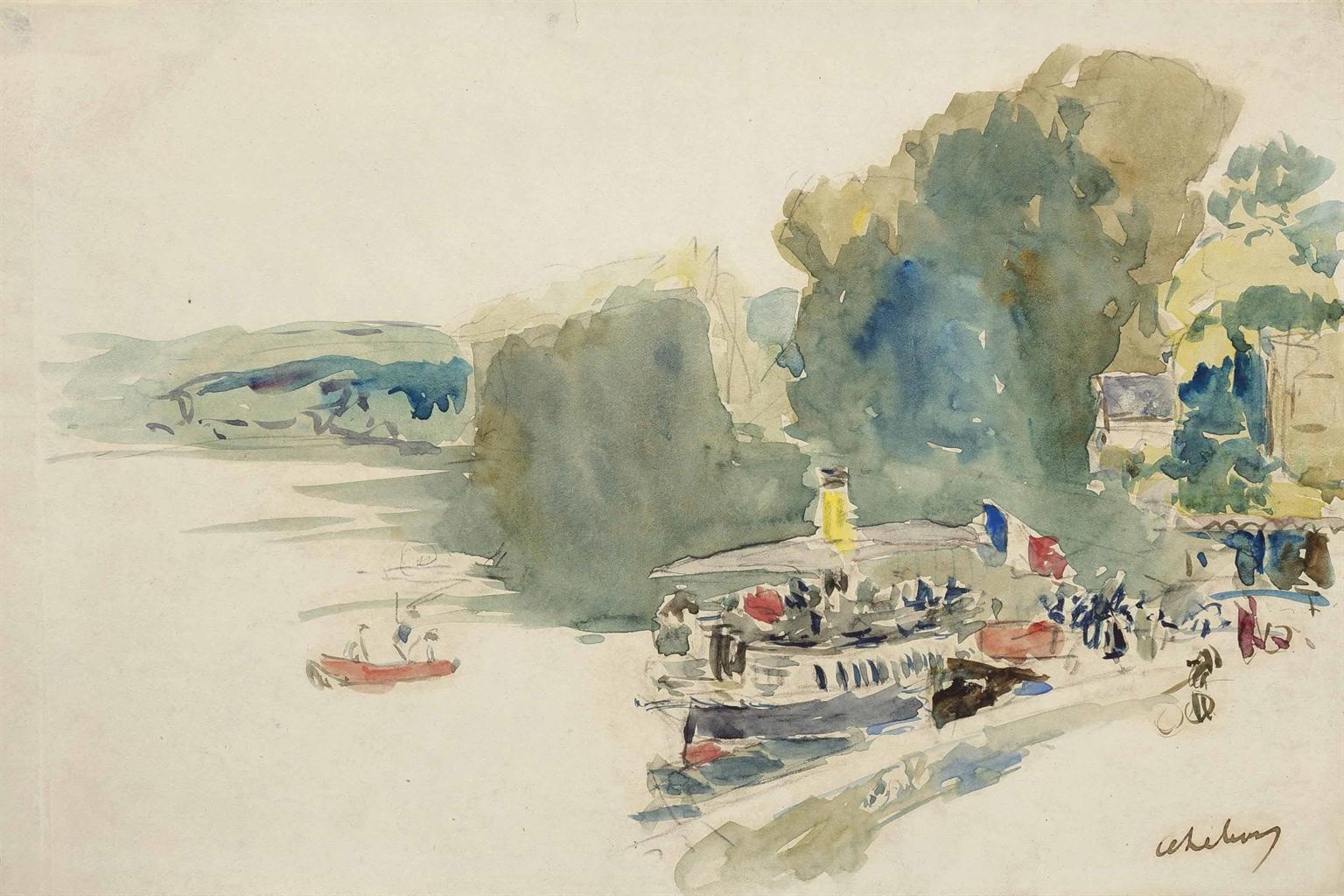 Albert Lebourg-Dimanche de fete, La Bouille-1910