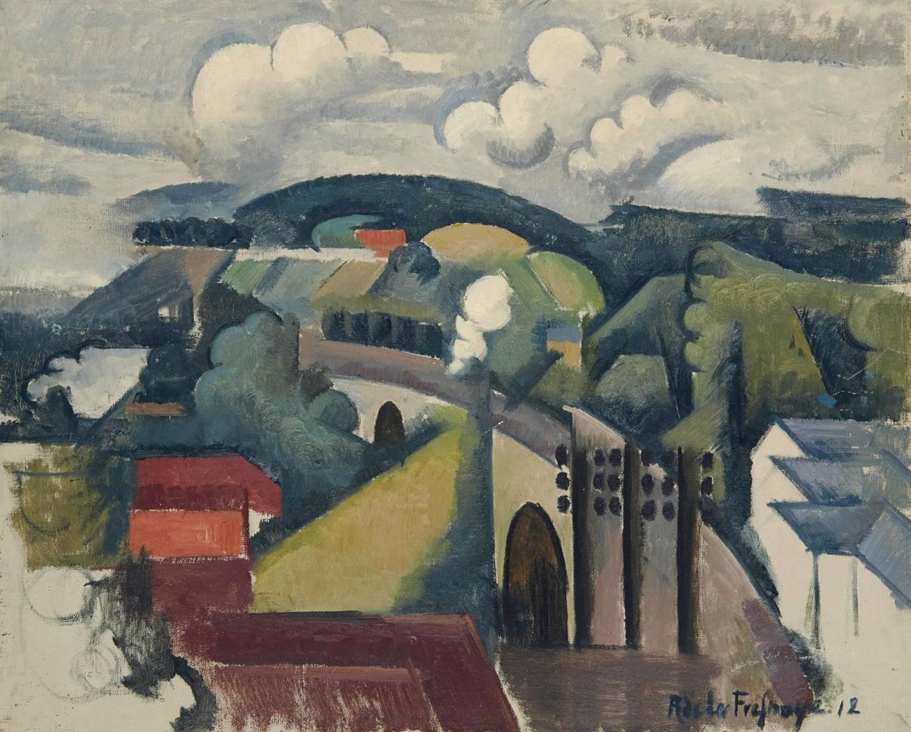 Roger de La Fresnaye-Paysage de Meulan ou Le Viaduc de Meulan, premiere version-1912