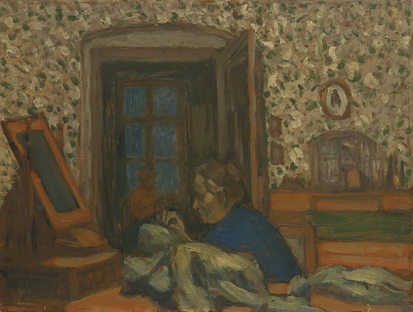 Jozsef Rippl-Ronai-La mere de l'artiste cousant-1897