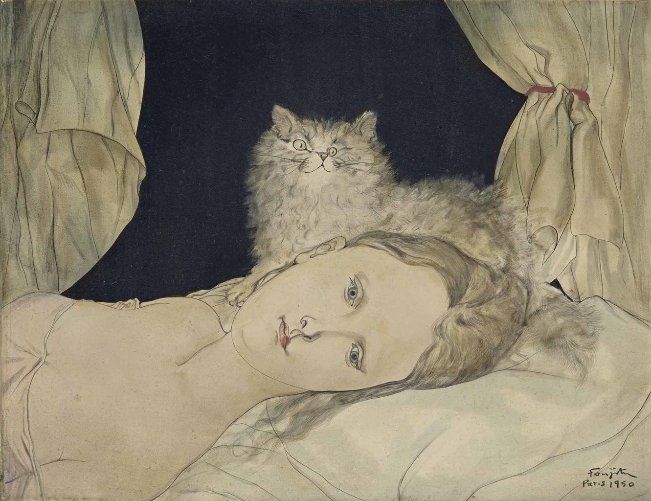 Tsuguharu Foujita-Buste de femme allongee au chat-1950