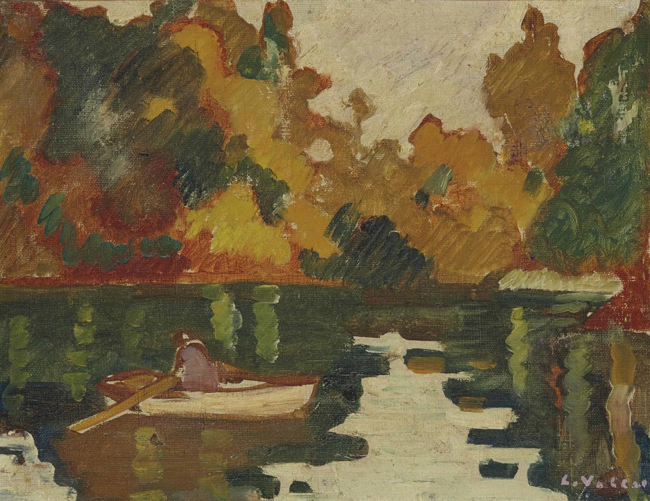 Louis Valtat-Barque sur le lac du bois de Boulogne, automne-1930