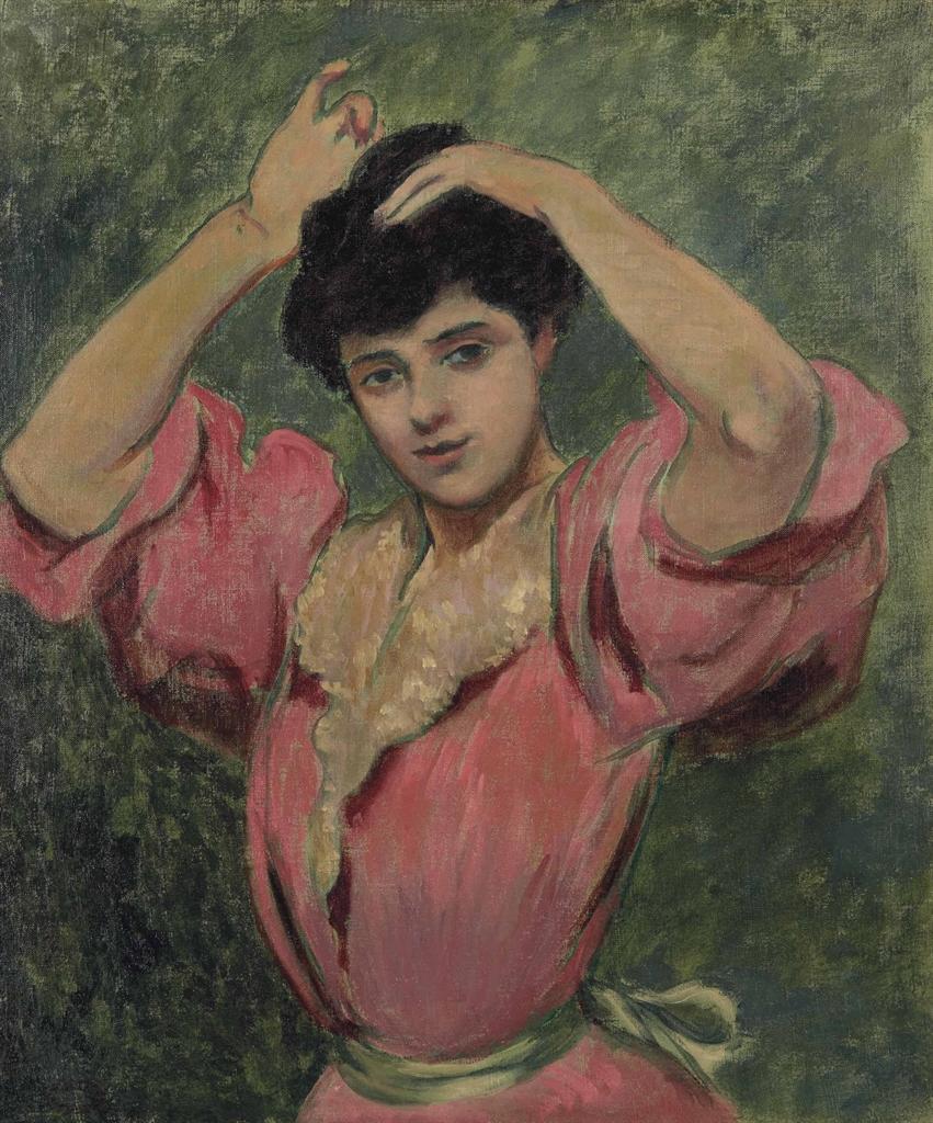 Federico Zandomeneghi-Femme se coiffant-