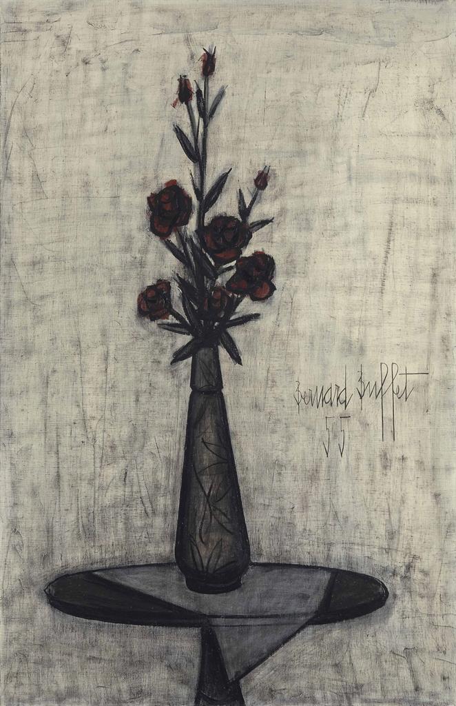 Bernard Buffet-Roses dans un vase de Galle-1955