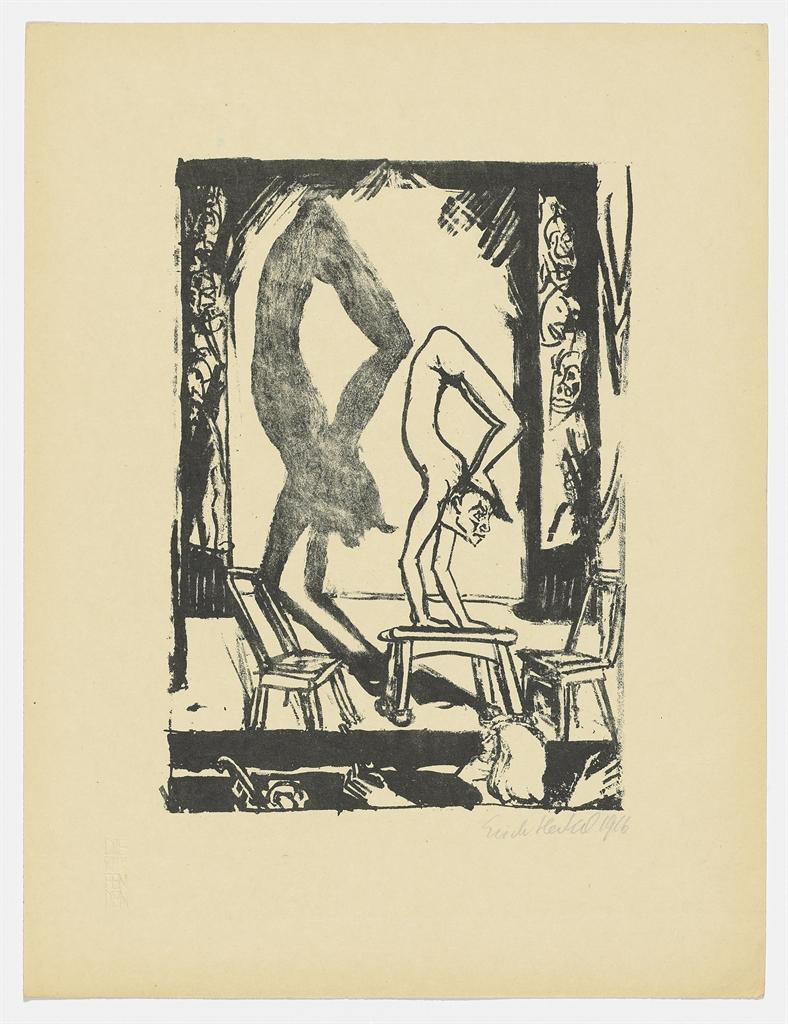 Erich Heckel-Handstand; Die Tote (Szene zu Dostojewskis 'Idiot'); Die Bruder Karamasow-1916