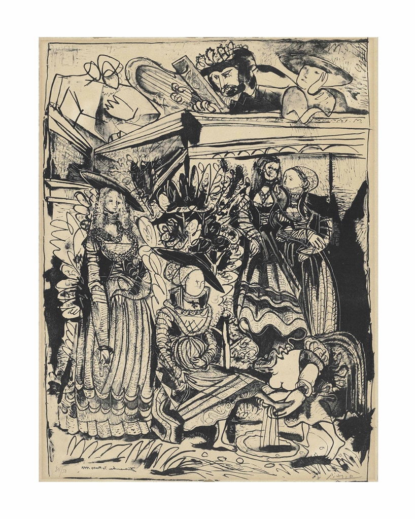 Pablo Picasso-David et Bethsabee (d'apres Lucas Cranach) (State 2)-1947