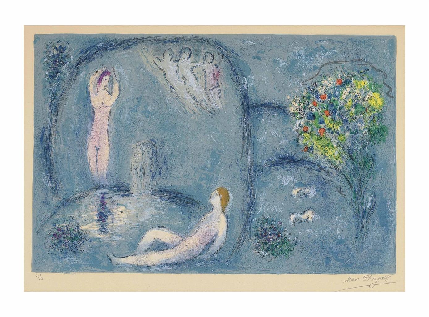 Marc Chagall-La Caverne des Nymphes, from: Daphnis et Chloe-1961