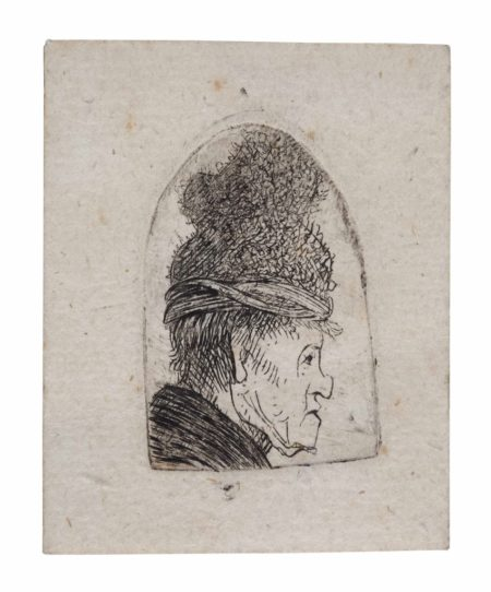 Rembrandt van Rijn-Grotesque Profile: Man in a high Cap-1629