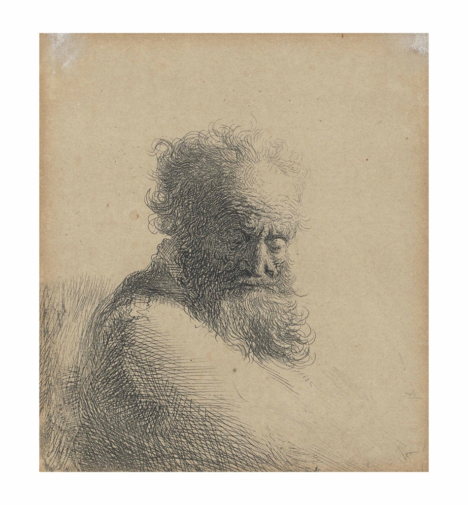 Rembrandt van Rijn-Bust of an old bearded man, looking down, three quarters right-1631