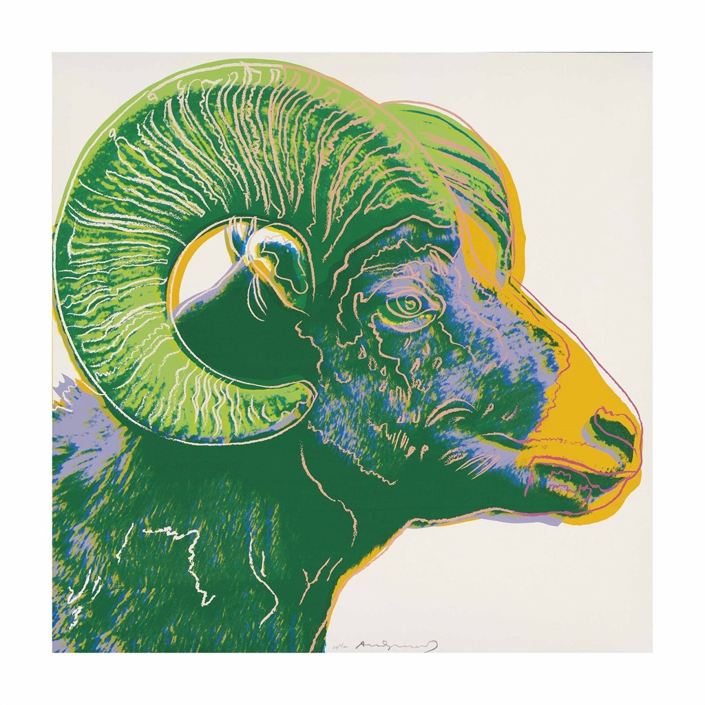 Andy Warhol-Bighorn Ram, from: Endangered Species-1983