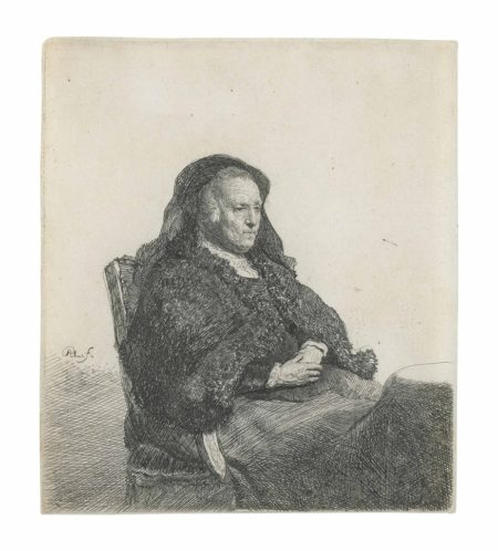 Rembrandt van Rijn-The Artist's Mother, seated at a Table, looking right: three quarter length-1631