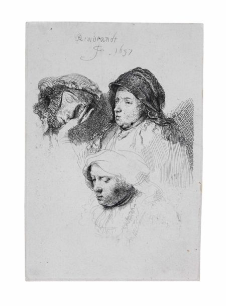 Rembrandt van Rijn-Three Heads of Women: One asleep-1637