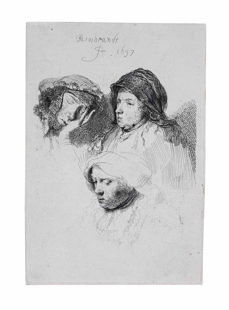 Rembrandt van Rijn-Three Heads of Women: One asleep-1637