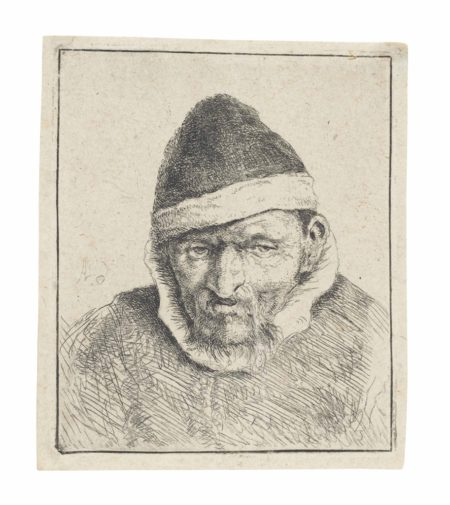 Adriaen van Ostade-Peasant in a pointed Fur Cap-1640