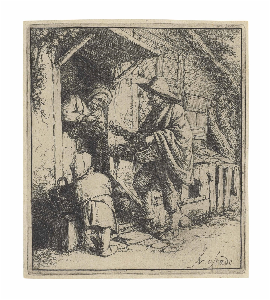 Adriaen van Ostade-The Spectacle Seller-1646