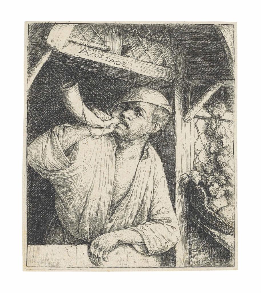Adriaen van Ostade-The Baker sounding his Horn-1664