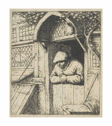 Adriaen van Ostade-A Peasant leaning on his Doorway-1672