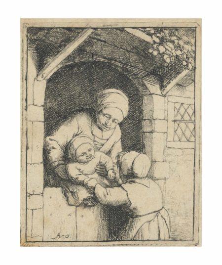 Adriaen van Ostade-Mother and two Children-1675