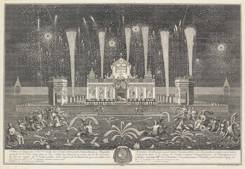 Johann Friedrich Armand Von Uffenbach-After Johann Friedrich Armand Von Uffenbach - The Fireworks and Illuminations of the Conde del Montijo in Frankfurt in 1741; Entwurf einer historischen Architectur-1742