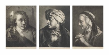 Thomas Frye-Three plates, from: Life-sized Heads (Man, directed to front, facing and looking towards left; Old woman, nearly in profile to left; Young man facing and looking towards right with frightened expression)-1760