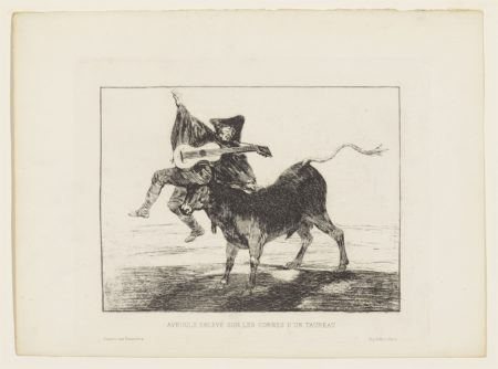 Francisco de Goya-Dios se lo pague a usted ('Blind Man tossed on the Horns of a Bull');  El Cantor Ciego ('The Blind Singer')-1823