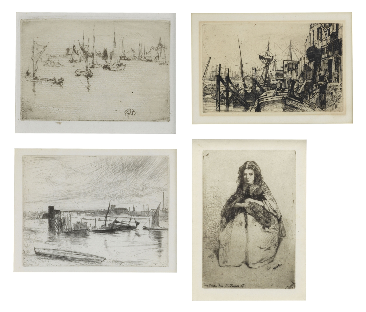 James Abbott McNeill Whistler-A Group of Four Etchings (Fumette (G. 12); Limehouse, from: The Thames Set (G. 48); Battersea Dawn 'Cadogan Pier' (Early Morning Battersea), from: The Thames Set (G. 96); Barges, Dordrecht (Boats, Dordrecht) (G. 262))-1886