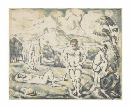 Paul Cezanne-Les Baigneurs (large plate)-1897