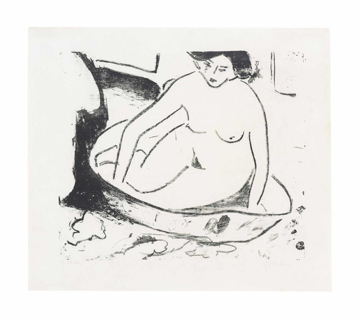 Ernst Ludwig Kirchner-Madchen im Badetub-1908