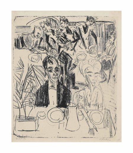 Ernst Ludwig Kirchner-Dinnertafel (Sanatorium)-1916