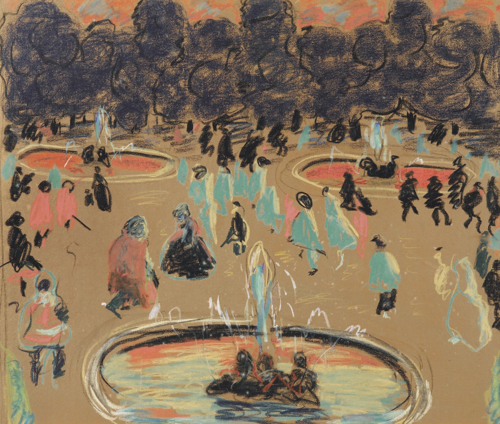 Pierre Bonnard-Jardin Public (Central Part Of The Triptych)-1917