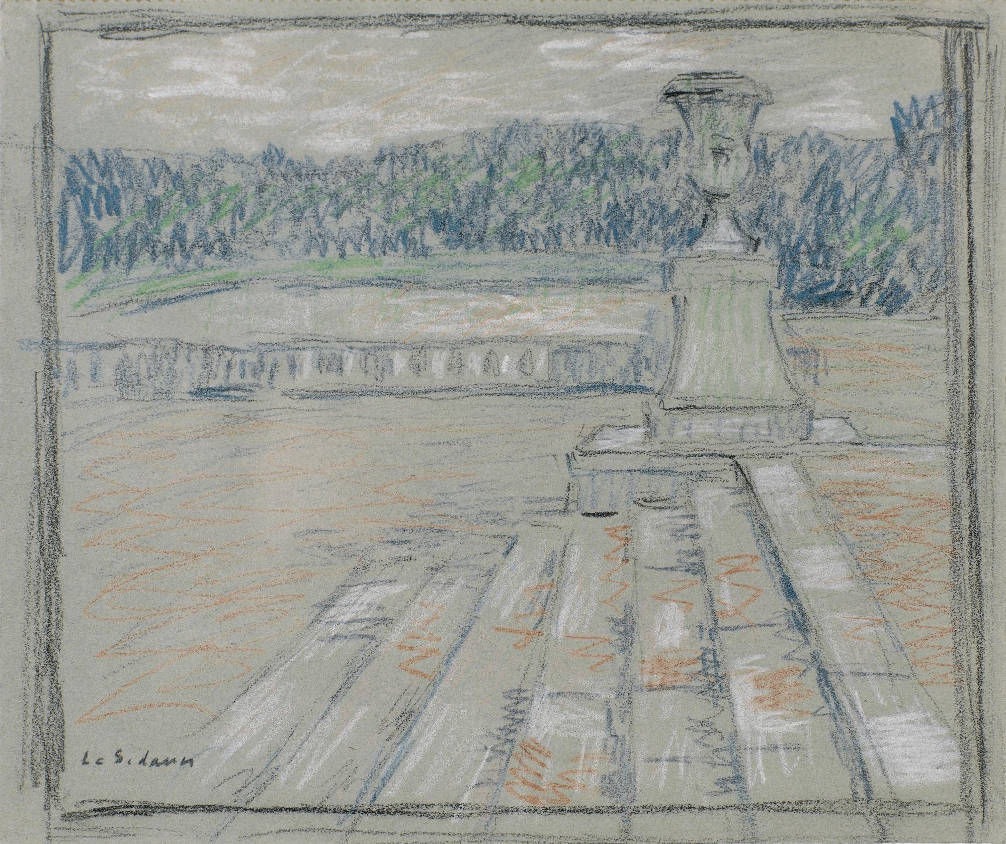 Henri Eugene Le Sidaner-Les Marches De Marbre Rose, Versailles (Recto Verso)-1921