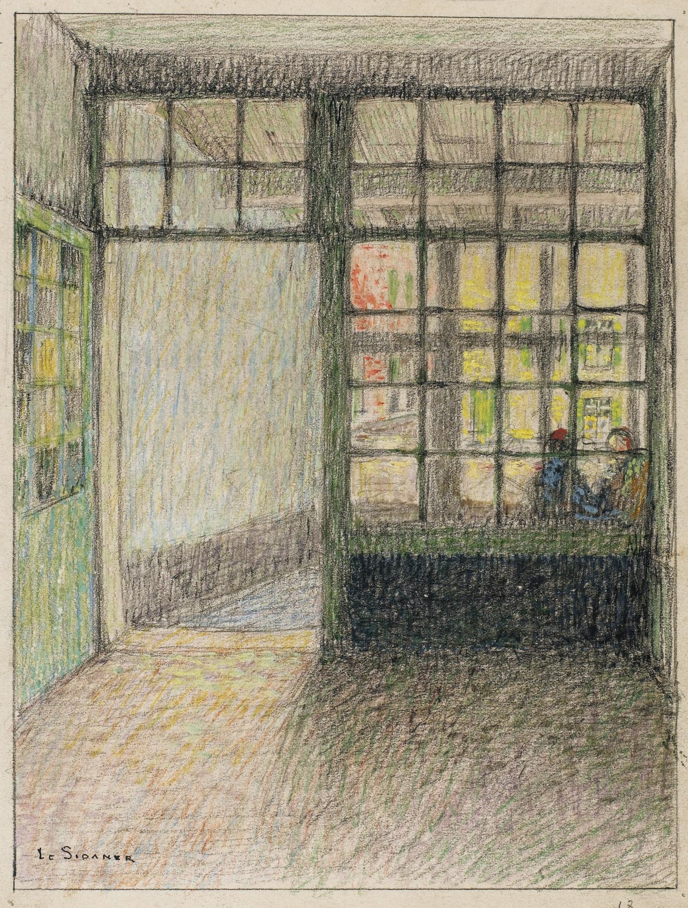 Henri Eugene Le Sidaner-Le Cabaret. Interieur, Bruges-1900