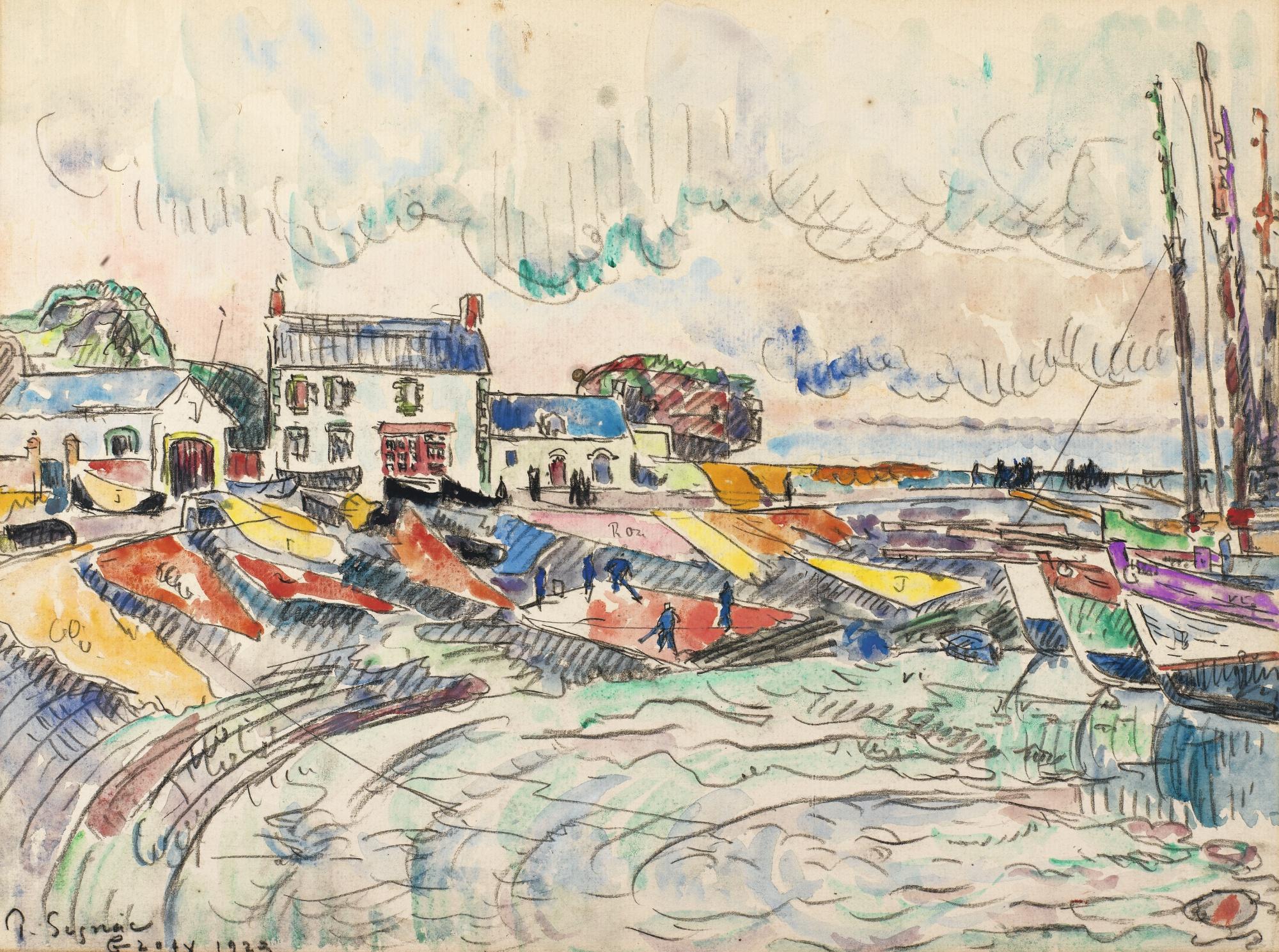 Paul Signac-Groix, Le Nettoyage Des Voiles-1923