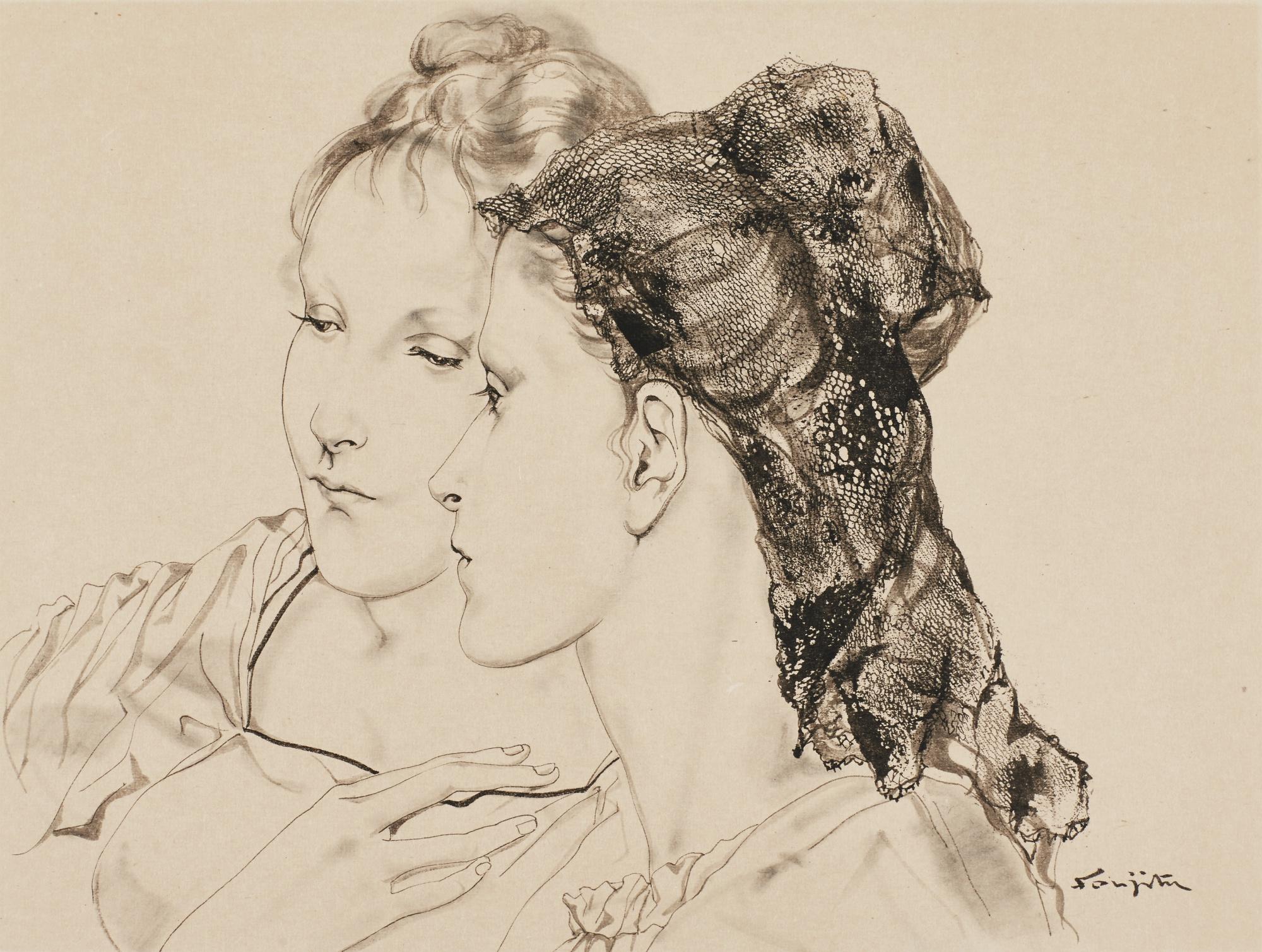 Tsuguharu Foujita-Femmes A La Mantille-1953
