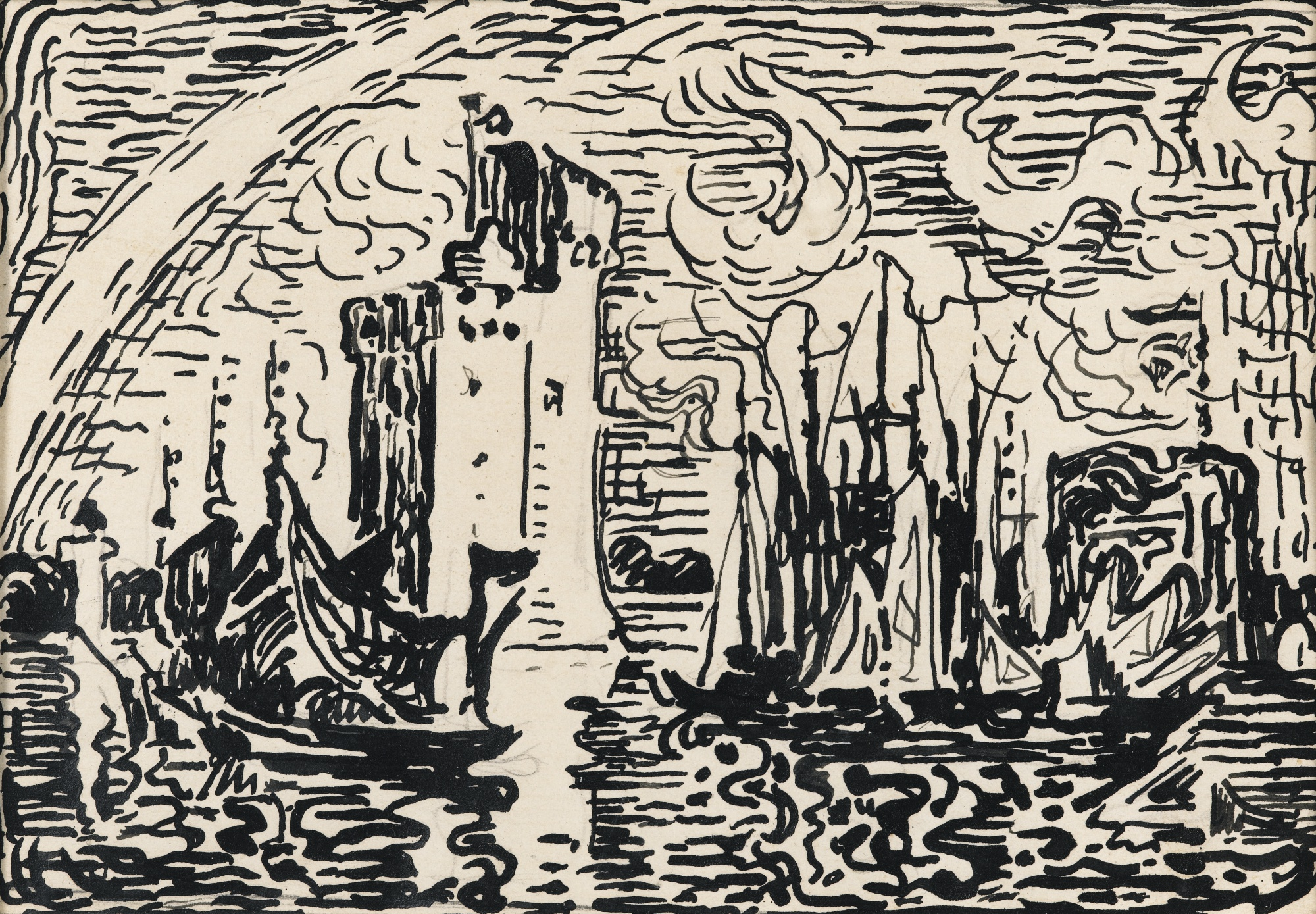 Paul Signac-Arc-En-Ciel. La Rochelle. Le Port (D'Apres Le Tableau Eponyme, Fc No. 494)-1912