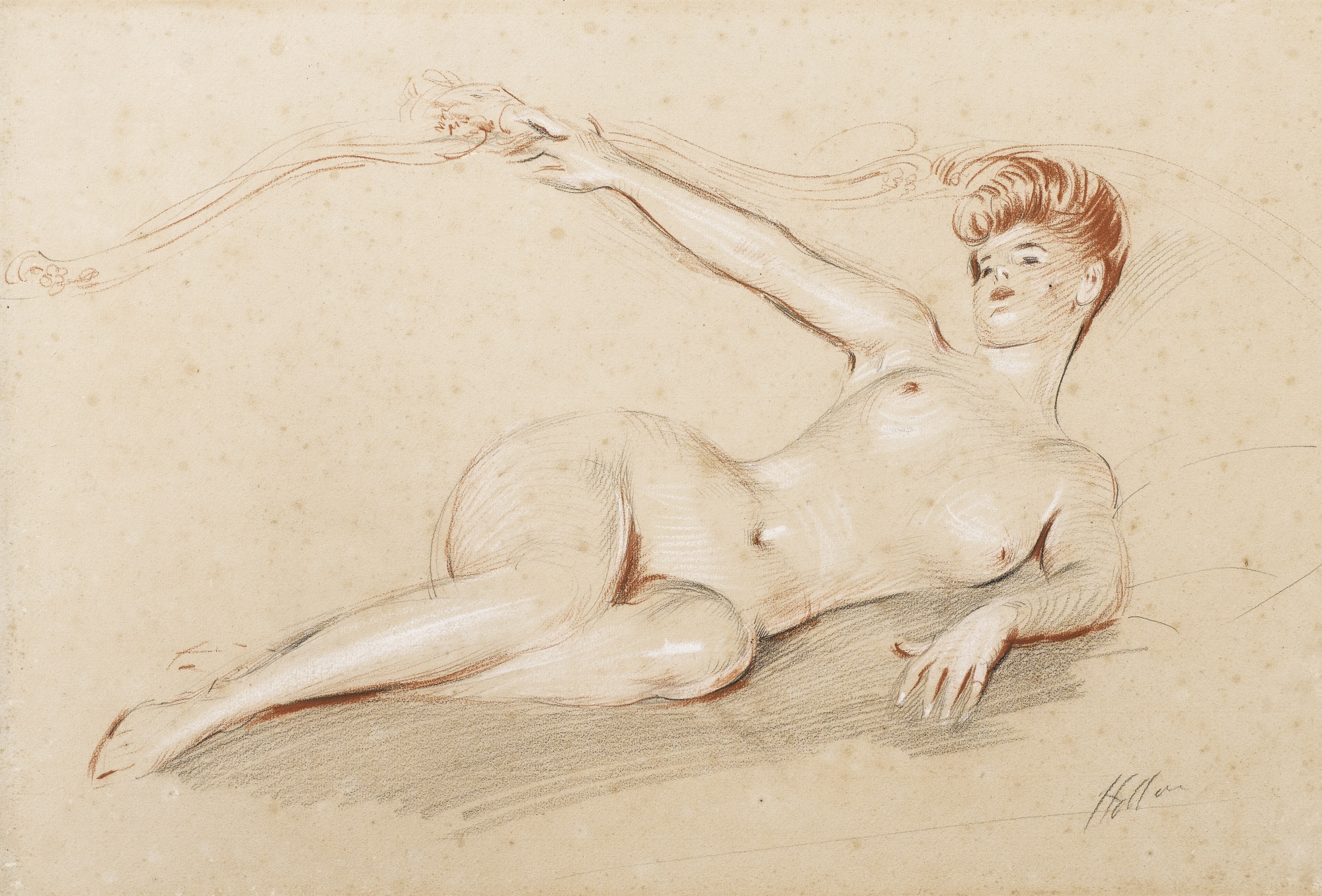 Paul Cesar Helleu-Lying Nude On A Sofa-
