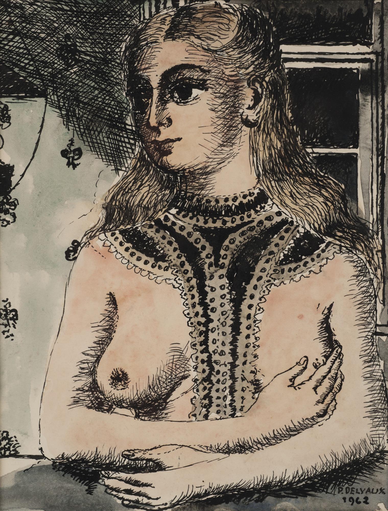 Paul Delvaux-Jeune Femme Aux Bras Croises-1962