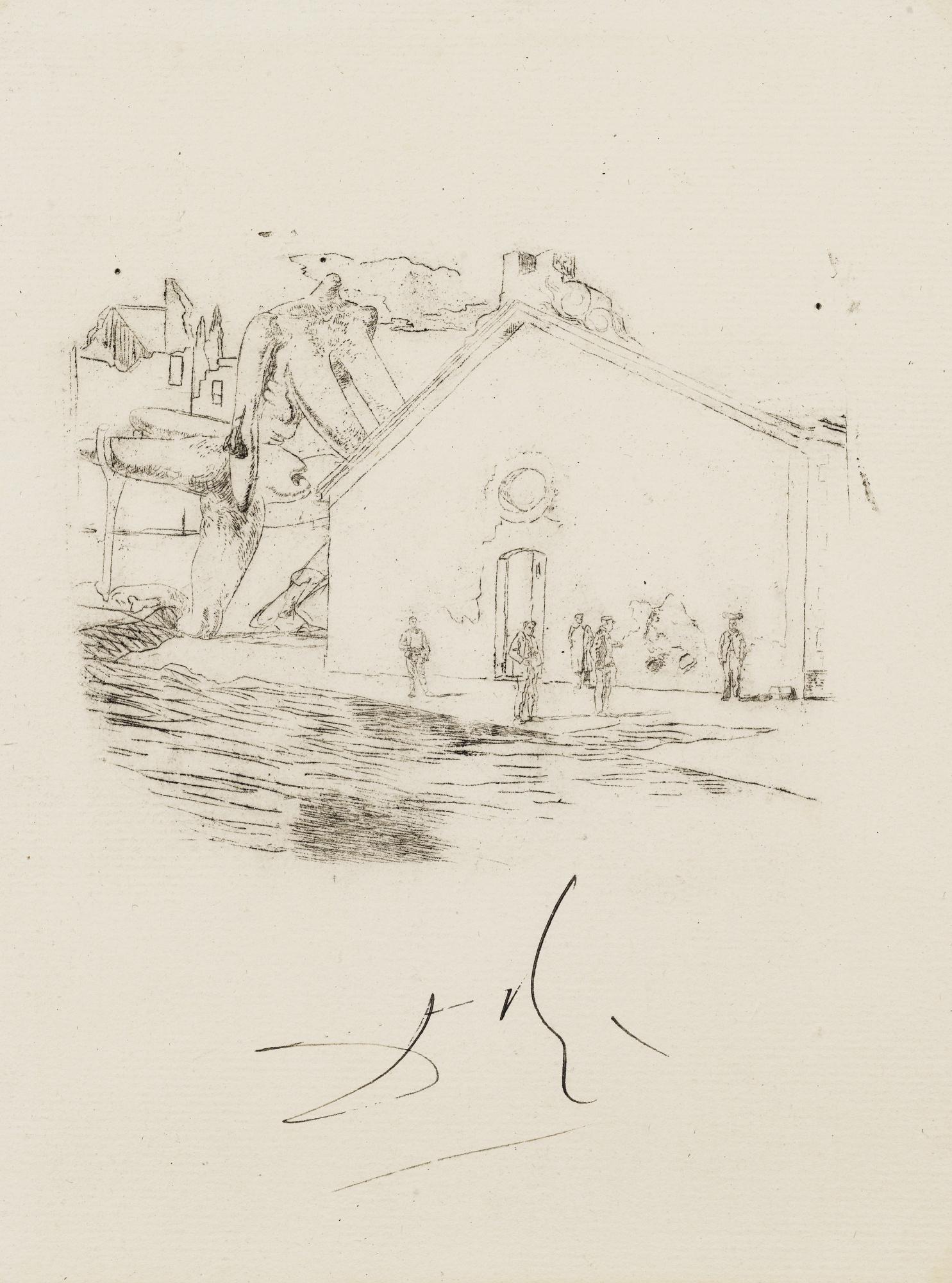 Salvador Dali-Maison En Bord De Mer, Sujet Non Retenu Pour Une Illustration Pour L'Ouvrage De Lautreamont Les Chants De Maldoror-1933