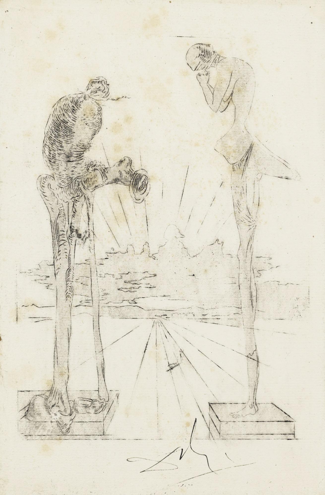 Salvador Dali-L'Angelus De Millet Avec Silhouette De Napoleon, Epreuve D'Essai Recto Et Verso Pour Une Illustration Pour L'Ouvrage De Lautreamont Les Chants De Maldoror-1933