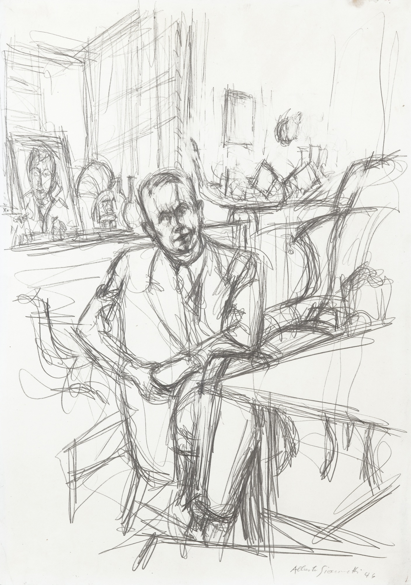 Alberto Giacometti-Portrait De Louis Aragon-1946