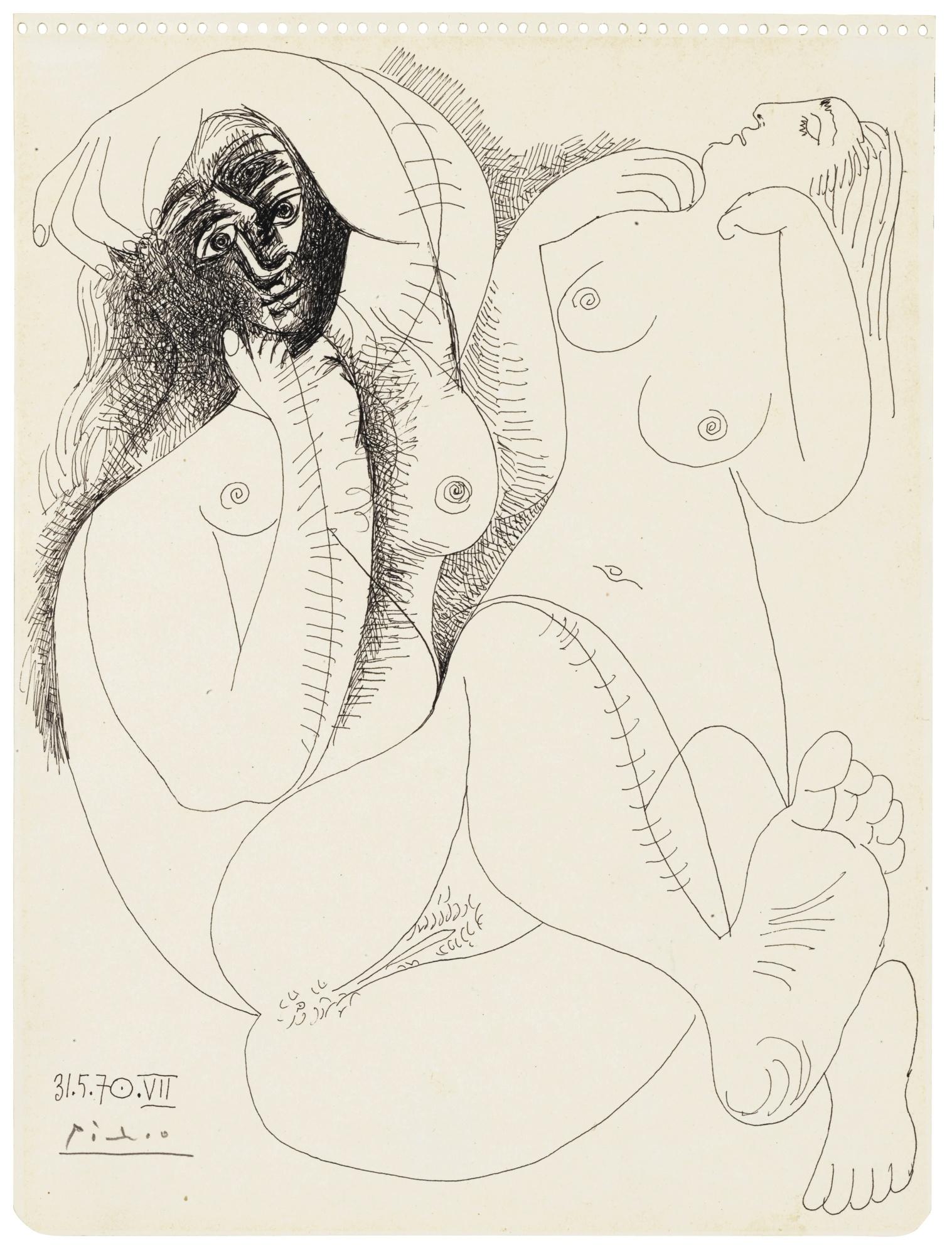 Pablo Picasso-Deux Nus-1970