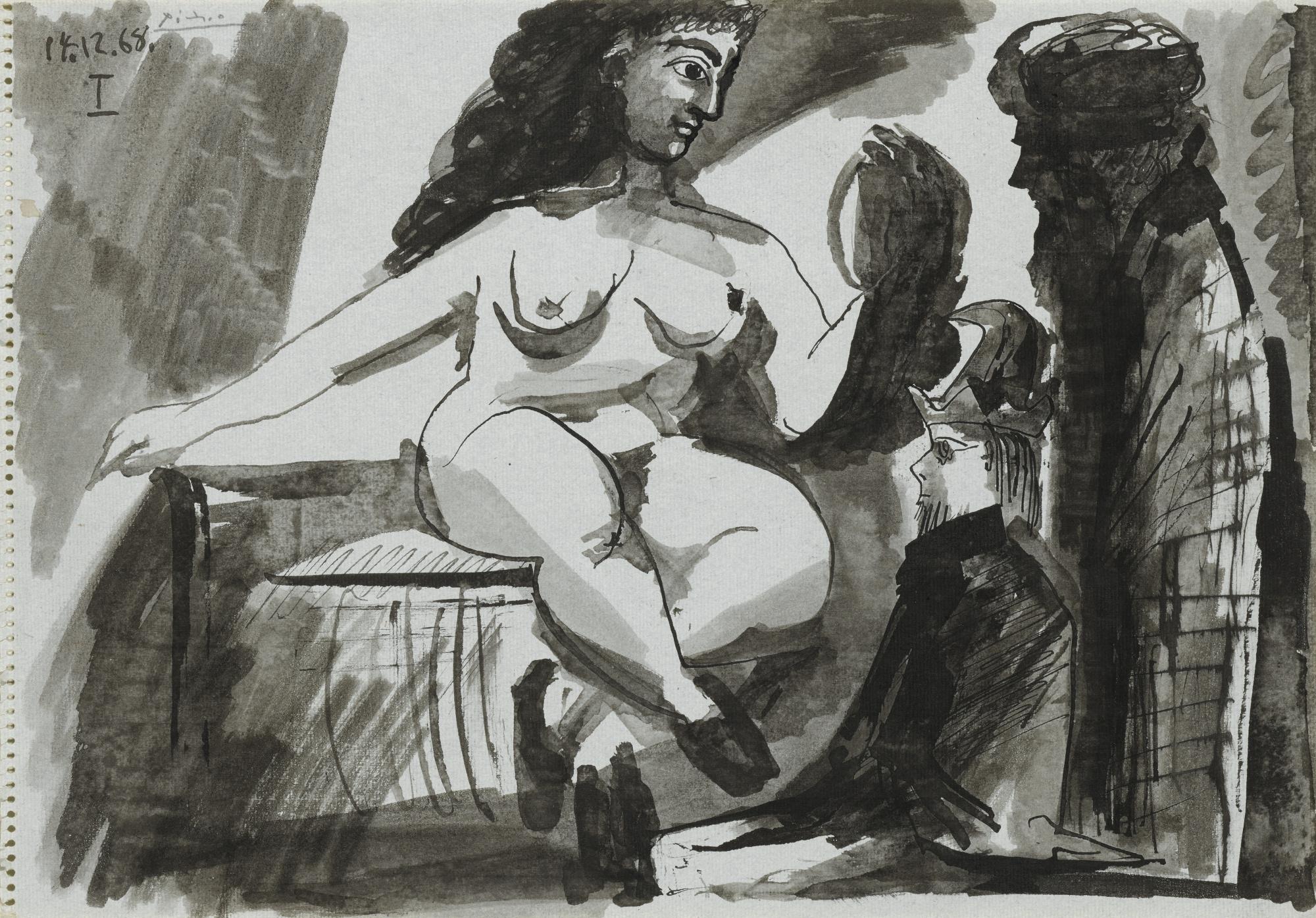 Pablo Picasso-Nu Assis Et Deux Personnages-1968
