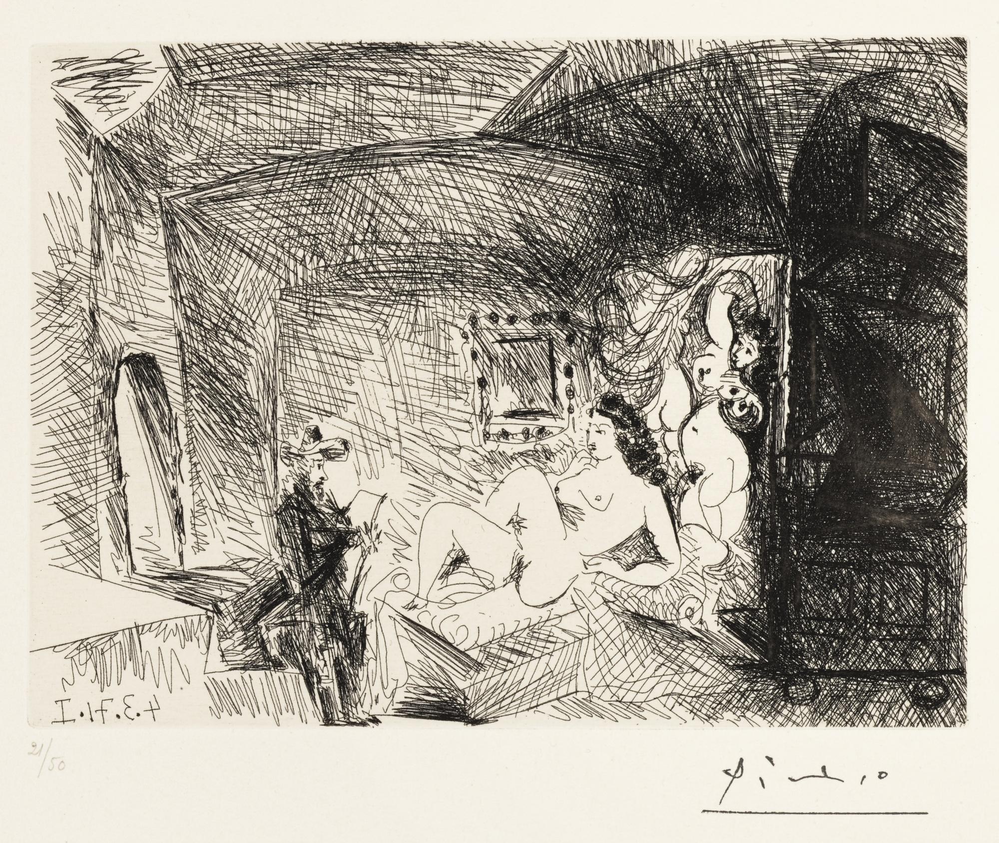 Pablo Picasso-Peintre, Modele Et Toile Dans Une Piece Voutee Du Xviie Siecle-1971