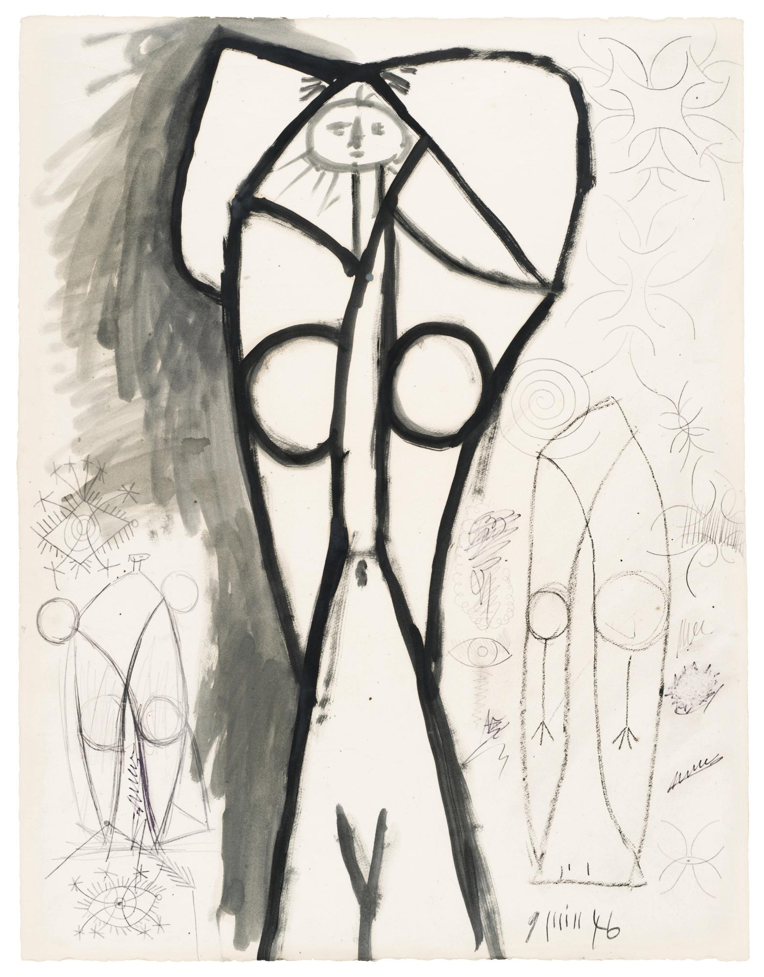 Pablo Picasso-Femme Nue Debout Les Bras Sur La Tete (Recto) Etudes De Nus (Verso)-1946