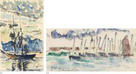 Paul Signac-Deux Dessins : (I) Saint-Tropez, Goelette A Quai; (II) Saint-Guenole