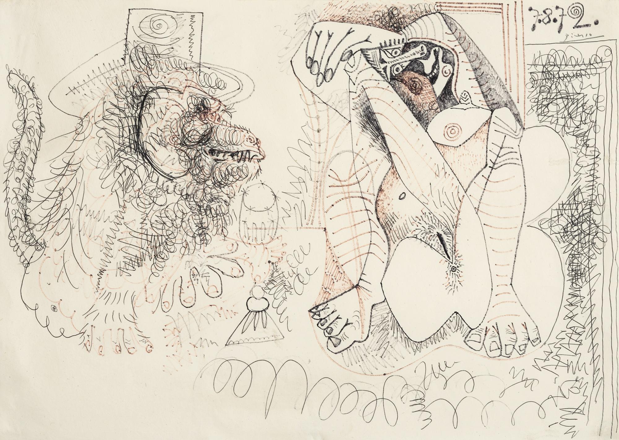 Pablo Picasso-Nu Assis Et Singe Au Chapeau-1972