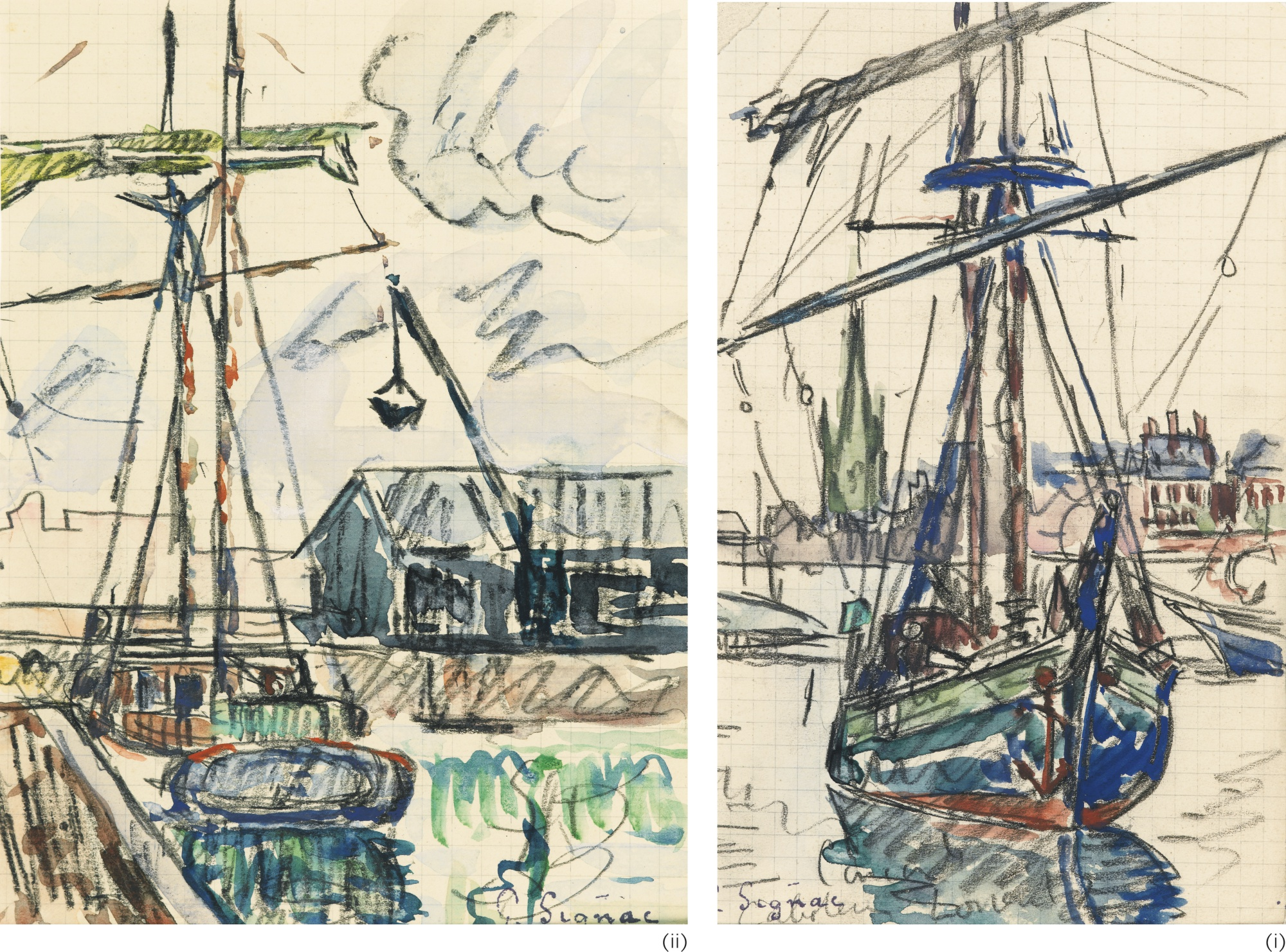 Paul Signac-Deux Dessins : (I) Lorient, Caboteur A L'Ancre (Page De Carnet); (II) La Grue, Caboteur A Quai Dans Un Port Breton (Page De Carnet)-